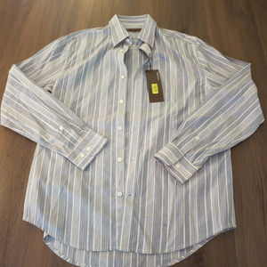 Perry Ellis Blue White Stripes Dress Shirt M NWT
